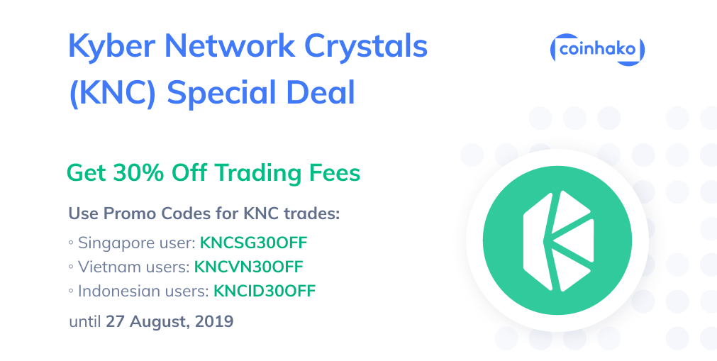Kyber Network Crystals (KNC) on Coinhako, since December 2018!