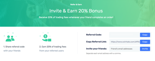 Refer and earn a 20% bonus at Coinhako!