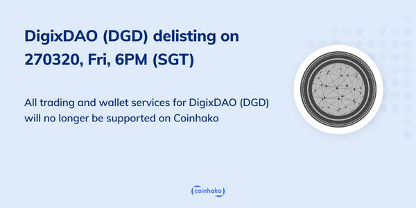 DigixDAO (DGD) Delisting On Coinhako 27 March 2020, 6pm (SGT)